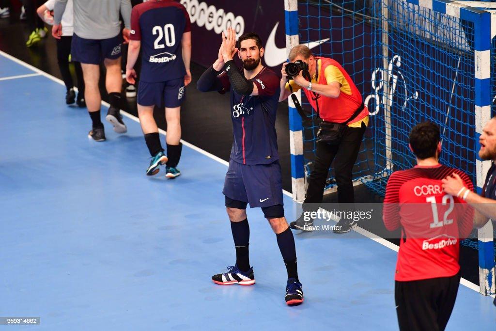Nikola Karabatic of PSG celebrates winning the Lidl StarLigue match between Paris Saint Germain and Aix at Salle Pierre Coubertin on May 16, 2018 in Paris, France.