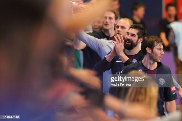 Nikola Karabatic of PSG celebrates with Fans of PSG during the Champions League match between Paris Saint Germain and SC Pick Szeged on April 29 2017...