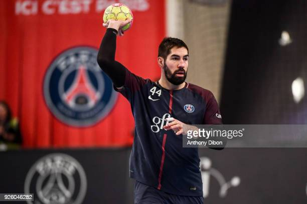 Nikola Karabatic of PSG during the Lidl Starligue match between Paris Saint Germain and Montpellier at Stade Pierre de Coubertin on March 1 2018 in...