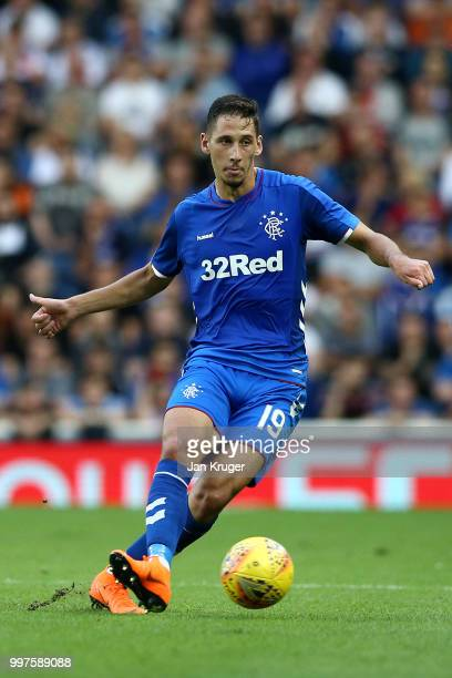 Nikola Katic of Rangers in action during the UEFA Europa League Qualifying Round match between Rangers and Shkupi at Ibrox Stadium on July 12 2018 in...
