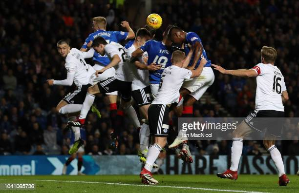 Nikola Katic of Rangers scores the opening goal during the Betfred Scottish League Cup Quarter Final match between Rangers and Ayr United on...