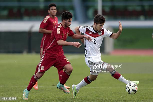 Nikola Kosanic of Germany challenges Alejandro Robles of Spain during the U16 UEFA development tournament match between Germany and Spain on February...