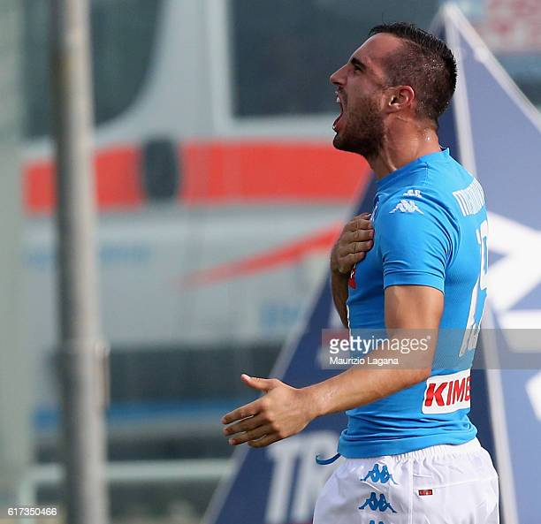 Nikola Maksimovic of Napoli celebrates after scoring his team's second goal during the Serie A match between FC Crotone and SSC Napoli at Stadio...