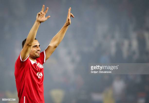 Nikola Maksimovic of Serbia celebrates the victory after FIFA 2018 World Cup Qualifier between Serbia and Georgia at stadium Rajko Mitic on October 9...