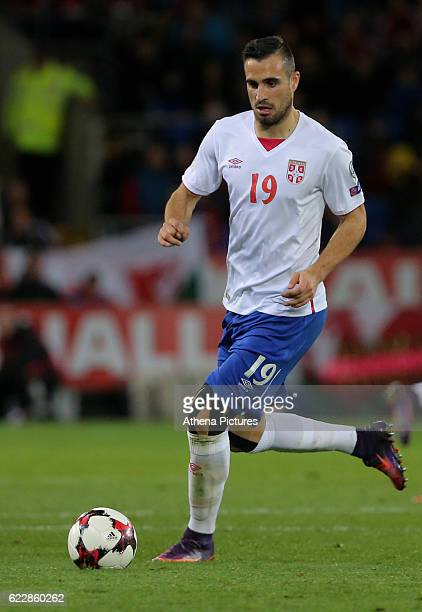 Nikola Maksimovic of Serbia in action during the 2018 FIFA World Cup Qualifier between Wales and Serbia at the Cardiff City Stadium on November 12...