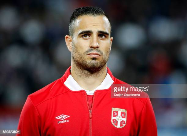 Nikola Maksimovic of Serbia looks on prior to the FIFA 2018 World Cup Qualifier between Serbia and Georgia at stadium Rajko Mitic on October 9 2017...