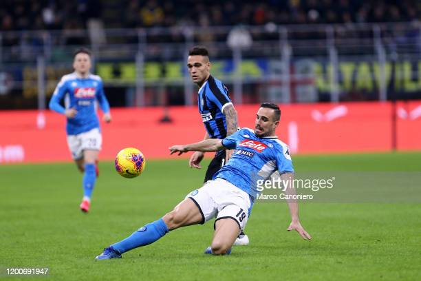 Nikola Maksimovic of Ssc Napoli and Lautaro Martinez of FC Internazionale in action during the Coppa Italia semi-final first leg match between FC...