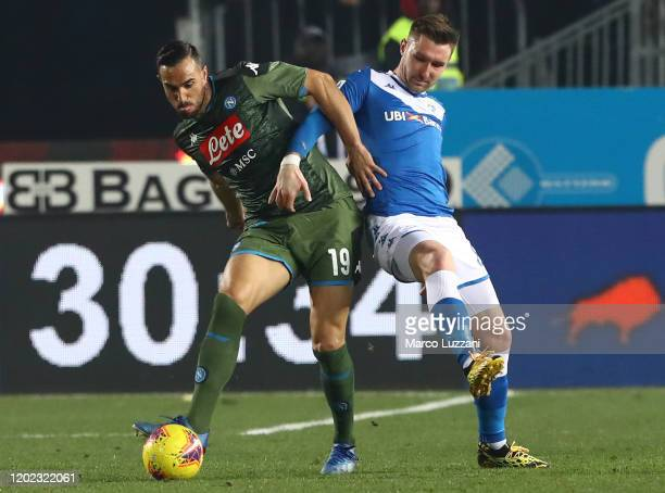 Nikola Maksimovic of SSC Napoli competes for the ball with Jaromir Zmrhhal of Brescia Calcio during the Serie A match between Brescia Calcio and SSC...