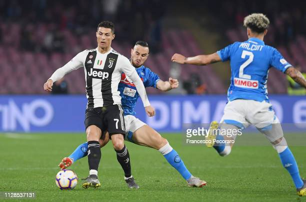 Nikola Maksimovic of SSC Napoli vies Cristiano Ronaldo of Juventus during the Serie A match between SSC Napoli and Juventus at Stadio San Paolo on...