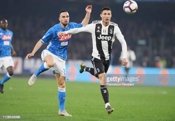 Nikola Maksimovic of SSC Napoli vies Cristiano Ronaldo of Juventus during the Serie A match between SSC Napoli and Juventus at Stadio San Paolo on...