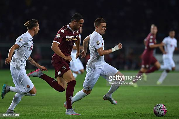 Nikola Maksimovic of Torino FC competes with Josip Ilicic of ACF Fiorentina during the Serie A match between Torino FC and ACF Fiorentina at Stadio...
