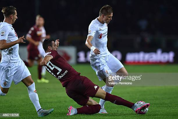 Nikola Maksimovic of Torino FC tackles Josip Ilicic of ACF Fiorentina during the Serie A match between Torino FC and ACF Fiorentina at Stadio...