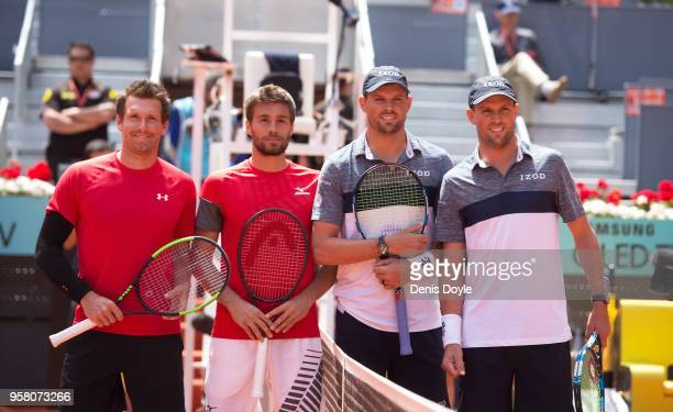 Nikola Mektic of Croatia and Alexander Peya of Austria are photographed alongside Bob Bryan and Mike Bryan of The United States before their final...