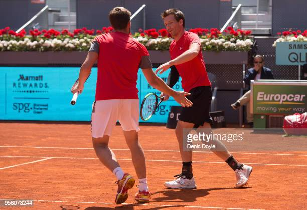Nikola Mektic of Croatia and Alexander Peya of Austria celebrate winning a point in action against Bob Bryan and Mike Bryan of The United States in...