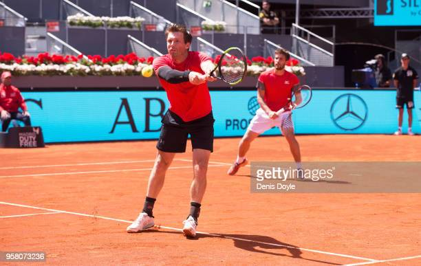 Nikola Mektic of Croatia and Alexander Peya of Austria in action against Bob Bryan and Mike Bryan of The United States in the final doubles match...