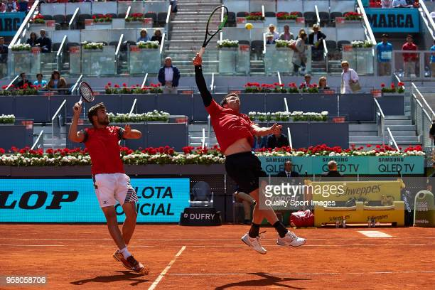Nikola Mektic of Croatia and Alexander Peya of Austria in action during his match against Bob Bryan of the United States and Mike Bryan of the United...