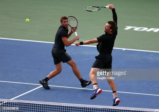Nikola Mektic of Croatia and Alexander Peya of Austria play against Henri Kontinen of Finland and John Peers of Australia during a semi final doubles...