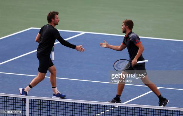 Nikola Mektic of Croatia and Alexander Peya of Austria play against Henri Kontinen of Finland and John Peers and Australia during a semi final...