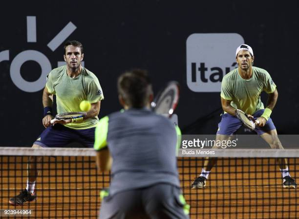 Nikola Mektic of Croatia returns a shot to David Marrero and Fernando Verdasco of Spain during the doubles final of the ATP Rio Open 2018 at Jockey...