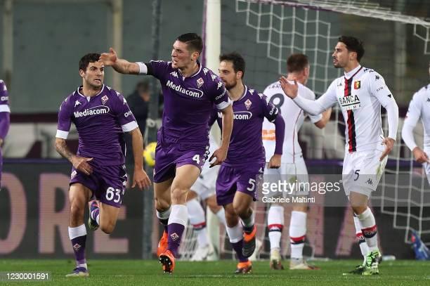 Nikola Milenkovic of ACF Fiorentina celebrates after scoring a goal during the Serie A match between ACF Fiorentina and Genoa CFC at Stadio Artemio...