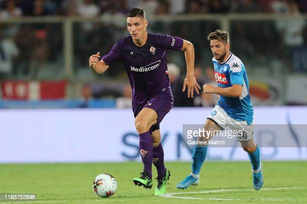 Nikola Milenkovic of ACF Fiorentina in action during the Serie A match between ACF Fiorentina and SSC Napoli at Stadio Artemio Franchi on August 24...