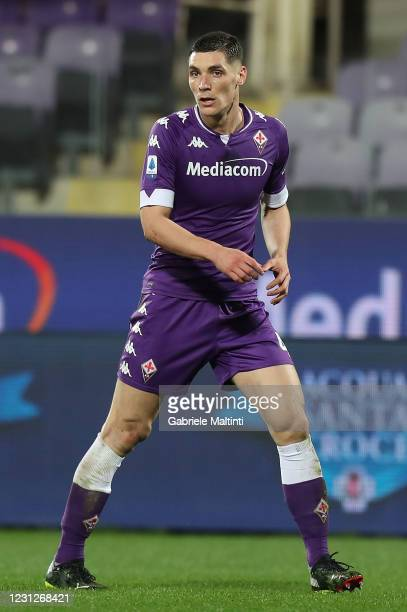 Nikola Milenkovic of ACF Fiorentina looks on during the Serie A match between ACF Fiorentina and Spezia Calcio at Stadio Artemio Franchi on February...