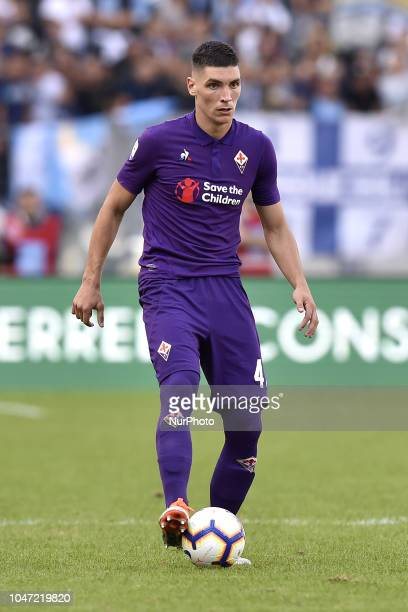 Nikola Milenkovic of Fiorentina during the Serie A match between Lazio and Fiorentina at Stadio Olimpico Rome Italy on 7 October 2018