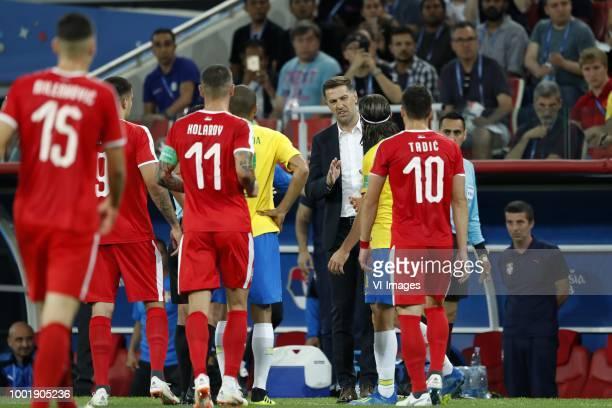 Nikola Milenkovic of Serbia Aleksandar Mitrovic of Serbia Aleksander Kolarov of Serbia Thiago Silva of Brazil Serbia coach Mladen Krstajic Filipe...