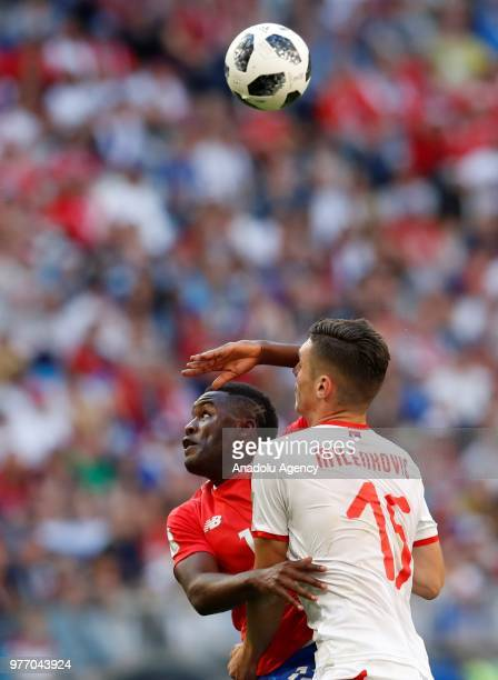 Nikola Milenkovic of Serbia in action against Joel Campbell of Costa Rica during the 2018 FIFA World Cup Russia Group E match between Costa Rica and...