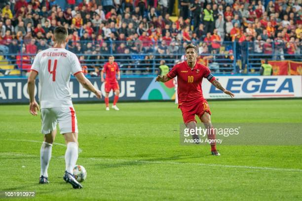 Nikola Milenkovic of Serbia in action against Stevan Jovetic of Montenegro in action during the UEFA Nations League Group 4 of League C soccer match...