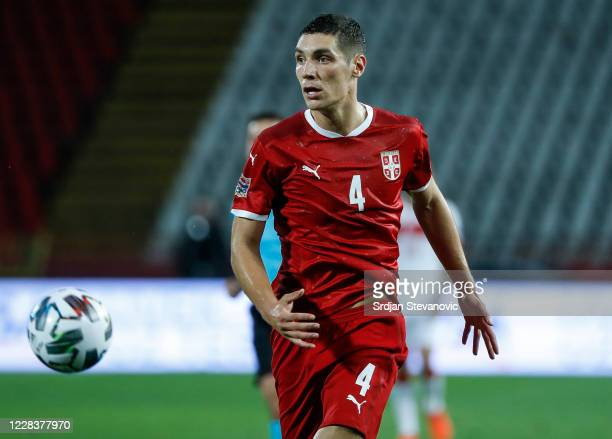 Nikola Milenkovic of Serbia in action during the UEFA Nations League group stage match between Serbia and Turkey at Rajko Mitic Stadium on September...