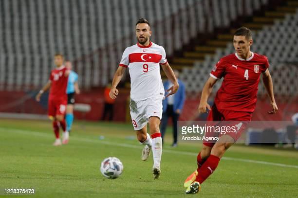 Nikola Milenkovic of Serbia national football team in action against Kenan Karaman of Turkey national football team during the UEFA Nations League B...