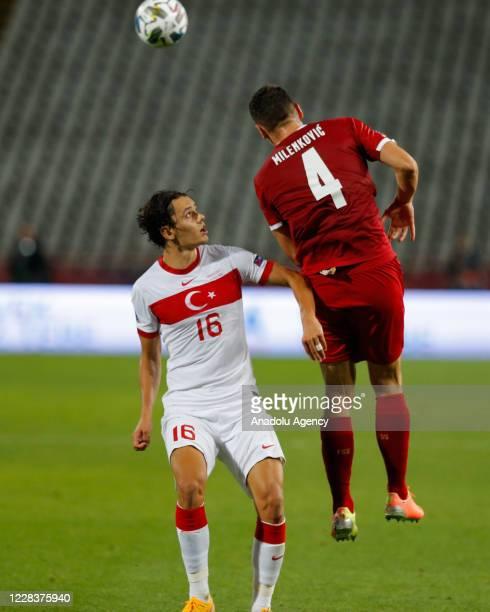 Nikola Milenkovic of Serbia national football team in action against Enes Unal of Turkey national football team during the UEFA Nations League B -...