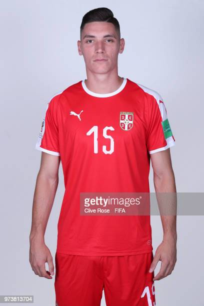 Nikola Milenkovic of Serbia poses for a portrait during the official FIFA World Cup 2018 portrait session at the Team Hotel on June 12 2018 in...