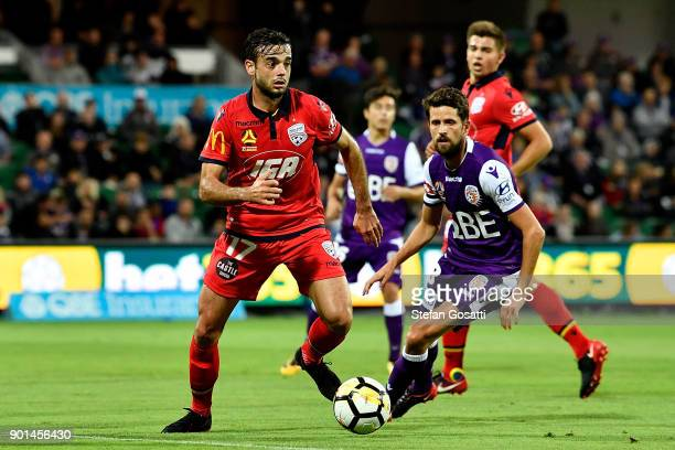 Nikola Mileusnic of Adelaide controls the ball during the round 14 ALeague match between the Perth Glory and Adelaide United at nib Stadium on...