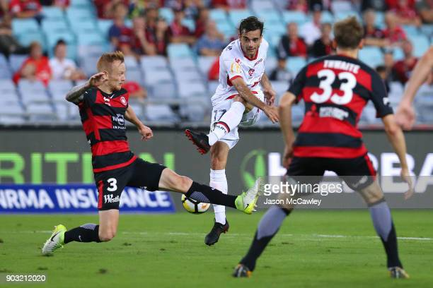 Nikola Mileusnic of Adelaide takes a shot at goal during the round 15 ALeague match between the Western Sydney Wanderers and Adelaide United at ANZ...