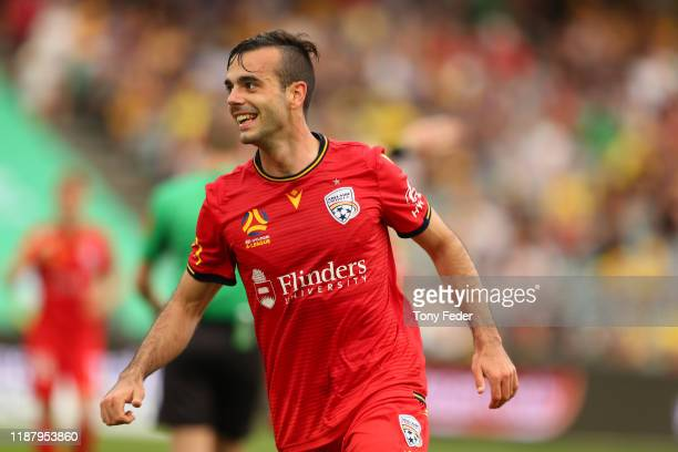 Nikola Mileusnic of Adelaide United celebrates a goal during the round 6 A-League match between the Central Coast Mariners and Adelaide United at...