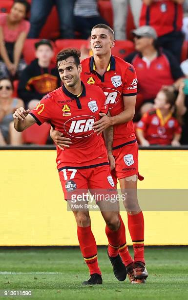 Nikola Mileusnic of Adelaide United celebrates Adelaides second goal during the round 19 ALeague match between Adelaide United and the Perth Glory at...