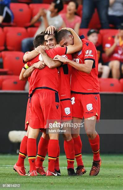 Nikola Mileusnic of Adelaide United celebrates scoring Adelaides second goal during the round 19 ALeague match between Adelaide United and the Perth...