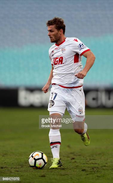 Nikola Mileusnic of Adelaide United controls the ball during the round 27 ALeague match between the Western Sydney Wanderers and Adelaide United at...