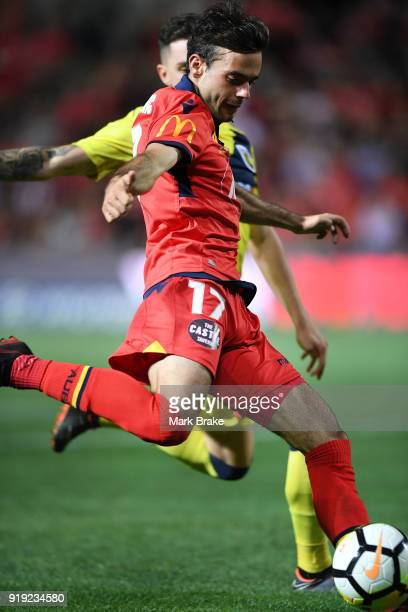 Nikola Mileusnic of Adelaide United crosses during the round 20 ALeague match between Adelaide United and the Central Coast Mariners at Coopers...