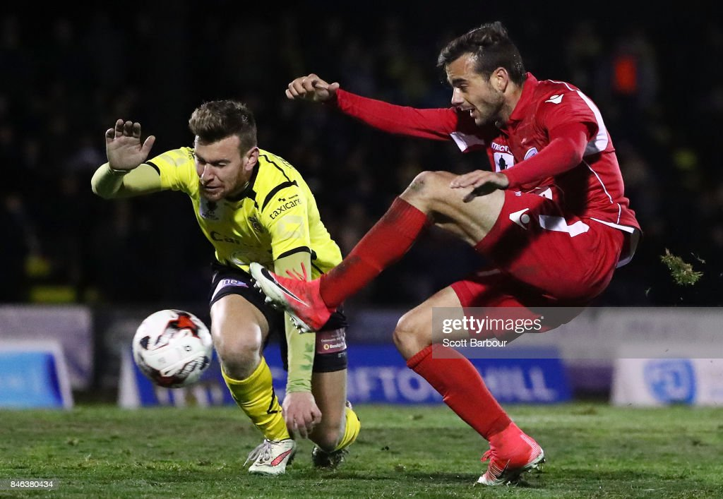 Nikola Mileusnic of Adelaide United has a shot on goal during the FFA Cup Quarter Final match between Heidelberg United FC and Adelaide United at Olympic Village on September 13, 2017 in Melbourne, Australia.