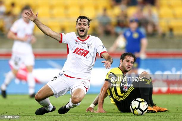 Nikola Mileusnic of Adelaide United is tackled by Tom Doyle of the Phoenix during the round 18 ALeague match between the Wellington Phoenix and...