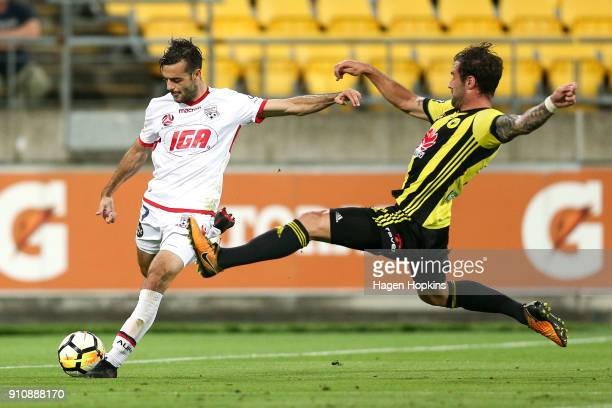 Nikola Mileusnic of Adelaide United looks to cross under pressure from Tom Doyle of the Phoenix during the round 18 ALeague match between the...