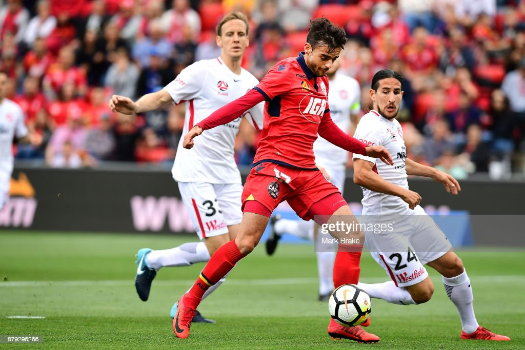 Nikola Mileusnic of Adelaide United nearly scores during the round eight A-League match between Adelaide United and the Western Sydney Wanderers at Coopers Stadium on November 26, 2017 in Adelaide, Australia.