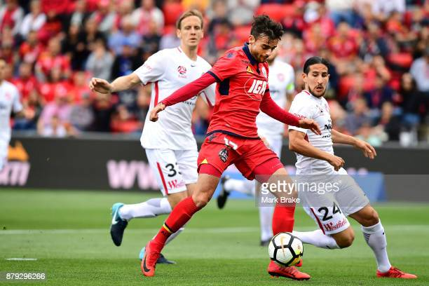 Nikola Mileusnic of Adelaide United nearly scores during the round eight ALeague match between Adelaide United and the Western Sydney Wanderers at...