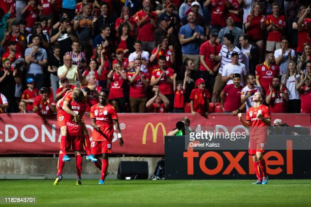 Nikola Mileusnic of United celebrates after kicking a goal during the FFA Cup Final between Adelaide United and Melbourne City at Coopers Stadium on...