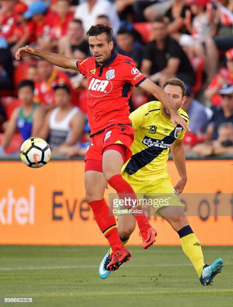 Nikola Mileusnic of United competes for the ball during the round 12 ALeague match between Adelaide United and the Central Coast Mariners at Coopers...