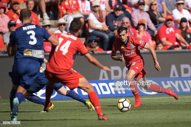 Nikola Mileusnic of United controls the ball during the round 13 ALeague match between Adelaide United and Brisbane Roar at Coopers Stadium on...
