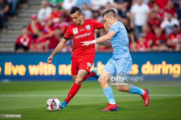 Nikola Mileusnic of United kicks the ball during the FFA Cup Final between Adelaide United and Melbourne City at Coopers Stadium on October 23, 2019...